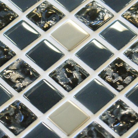 Grey glass and metal mosaic tiles with an iridescent finish