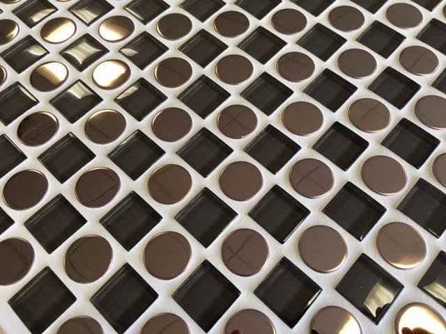 Brown glass and metal mosaic tiles