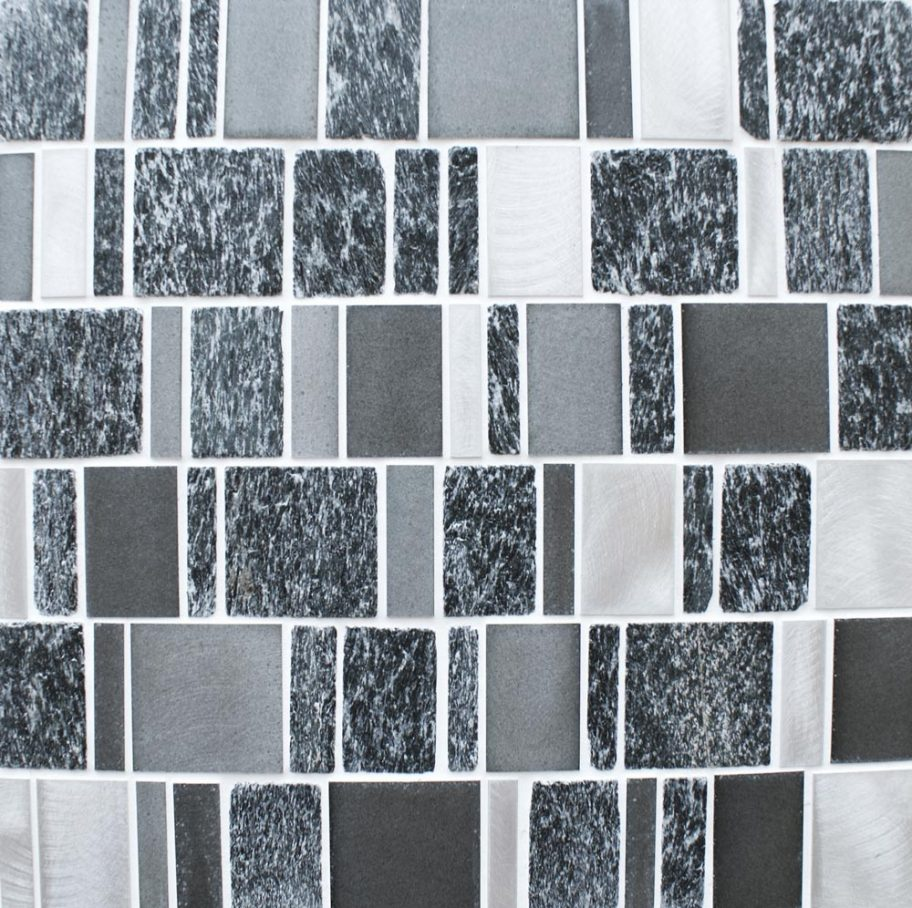 Meteor multi format black mosaic tiles
