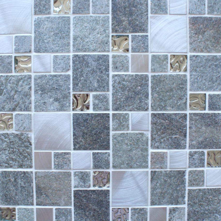 Meteor square grey mosaic tiles