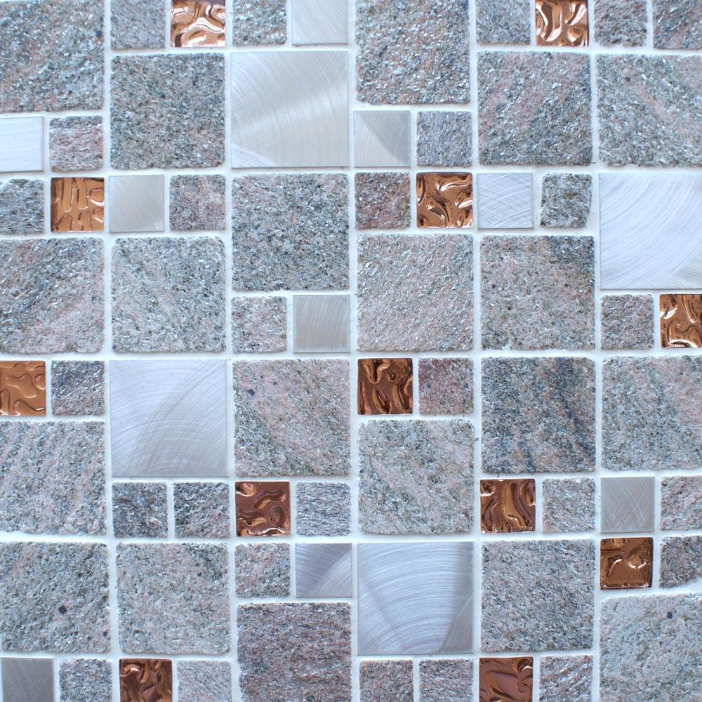 Meteor square rose mosaic tiles
