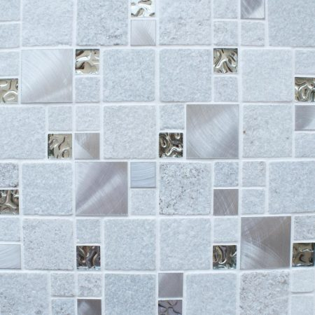 Meteor square white mosaic tiles