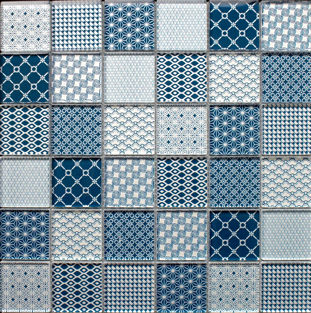 Tapestry Blue glass mosaic tiles