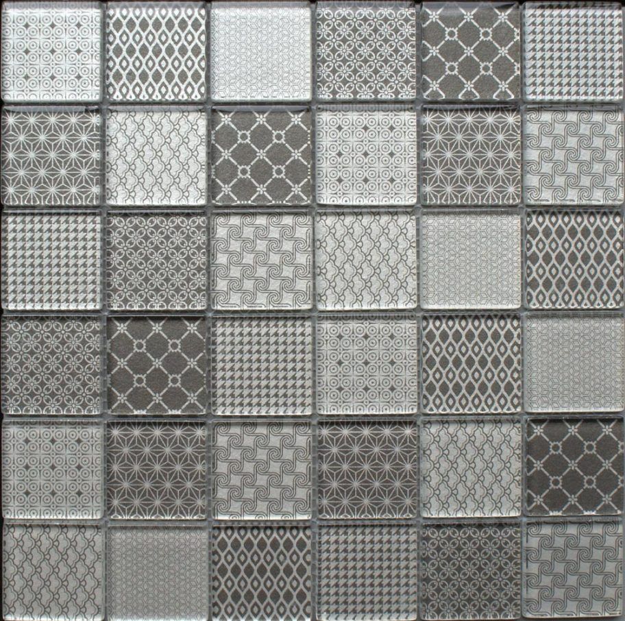 Tapestry Grey glass mosaic tiles