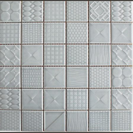 Applique ceramic mosaic tiles denim