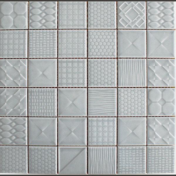 Applique ceramic mosaic tiles denim