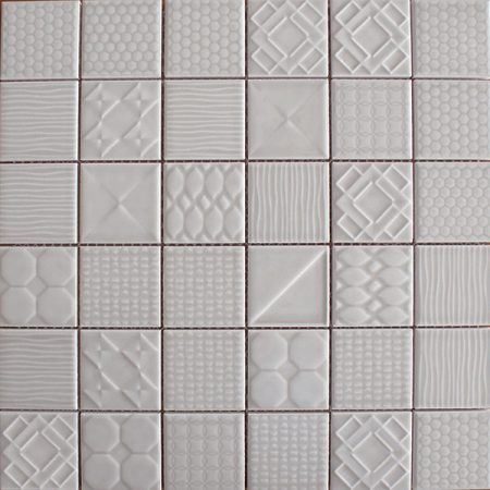 Applique ceramic mosaic tiles Weather Grey