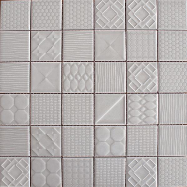 Applique ceramic mosaic tiles Weather Grey
