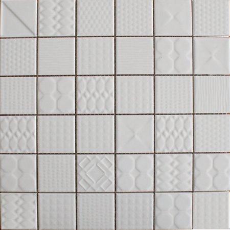Applique ceramic mosaic tiles White Gloss