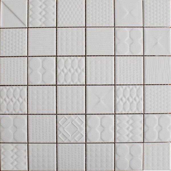 Applique ceramic mosaic tiles White Gloss